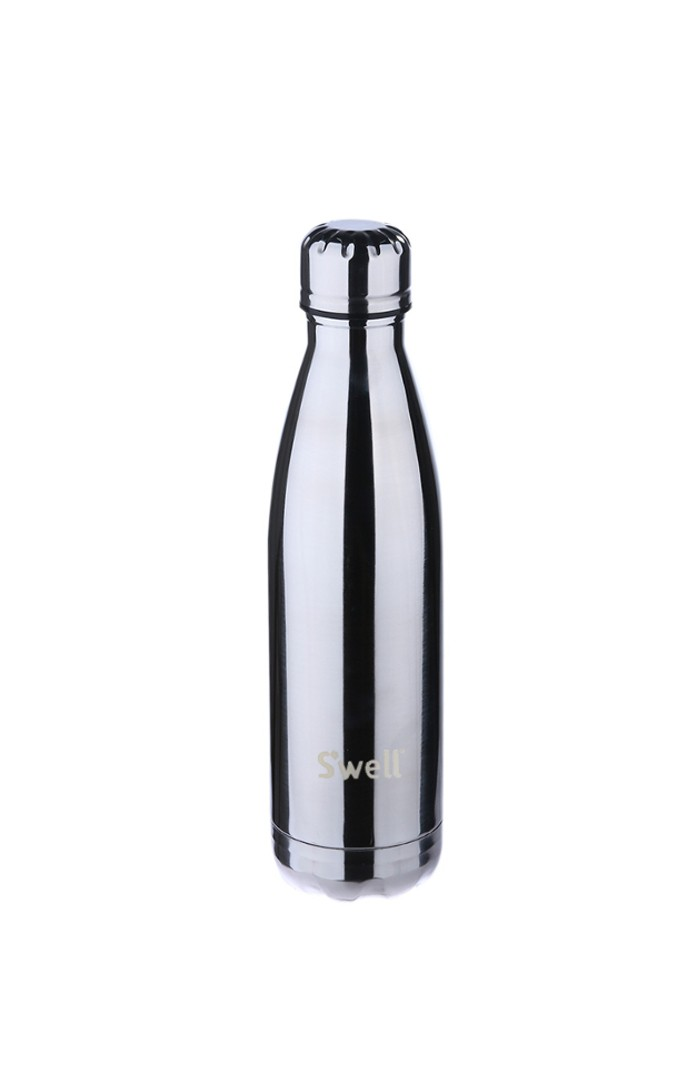 CHROME MIRROR POLISHED METAL S'WELL™ PLATINUM SERIES - STAINLESS STEEL WATER BOTTLE