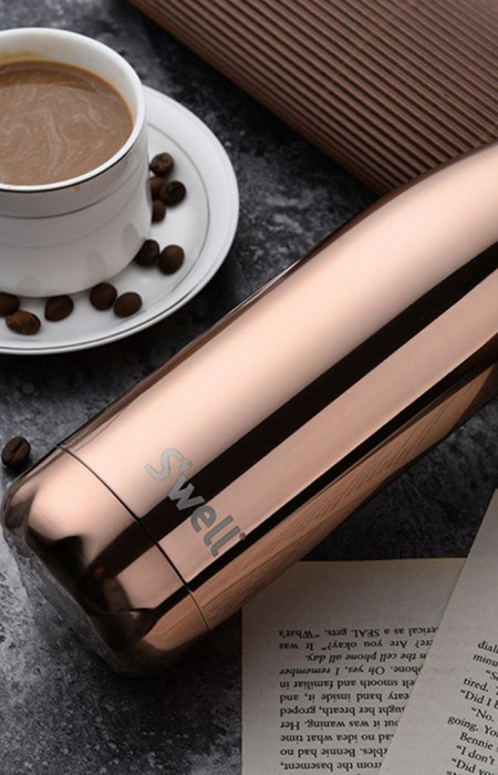 S'WELL™ PLATINUM SERIES - STAINLESS STEEL WATER BOTTLE IN BRONZE POLISHED