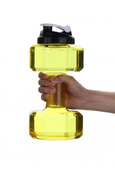 YELLOW FIT LYF™ GYM LIFTER - 2.5L DUMBBELLS GYM BOTTLE IN HANDS