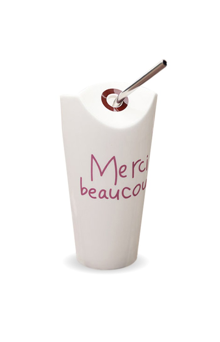 MOIOLLEN™ SUMMER VIBES - PORCELAIN STRAW CUP MODEL ''MERCI BEAUCOUP'' (THANK YOU VERY MUCH)