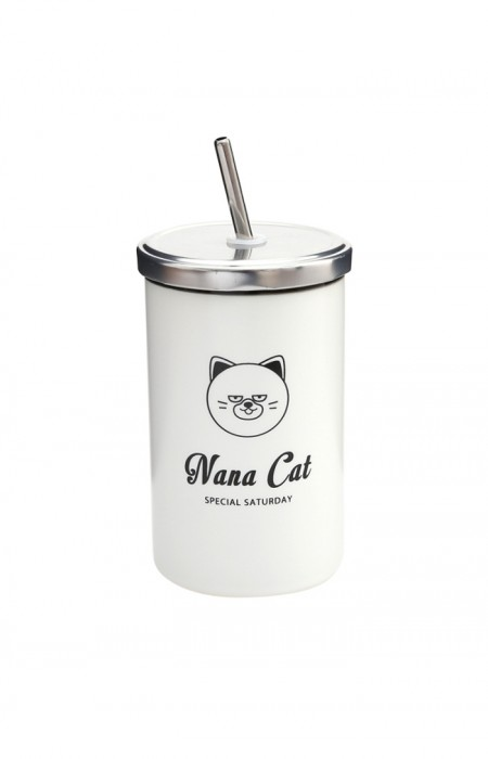 NANA CAT MooDY™ SATURDAY COLLECTION - PORCELAIN STRAW CUP
