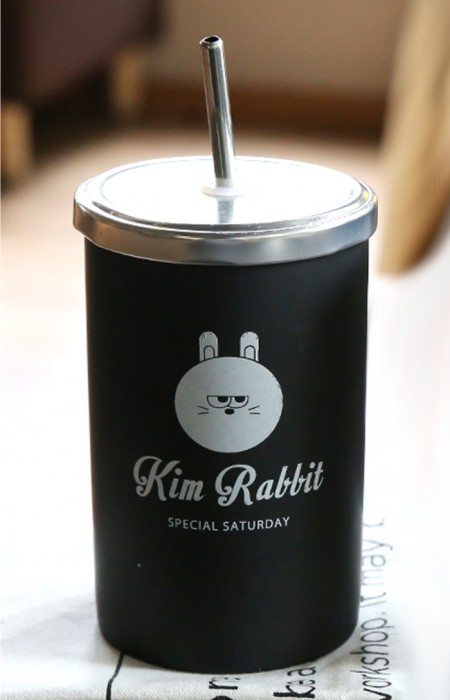 KIM RABBIT MooDY™ SATURDAY COLLECTION - PORCELAIN STRAW CUP